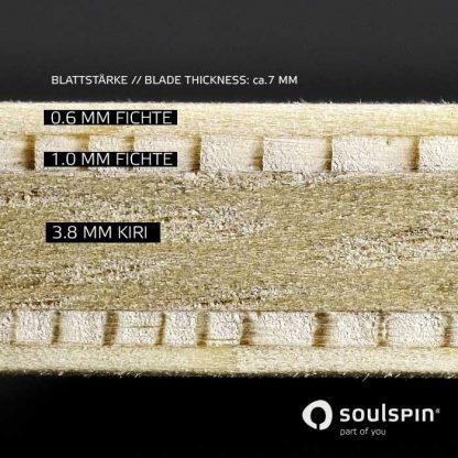 소울스핀의 탁구 라켓 스핀 오펜시브 단면