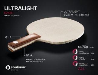 Ultralight extrem leichtes Tischtennisholz mit geradem Griff von SOULSPIN
